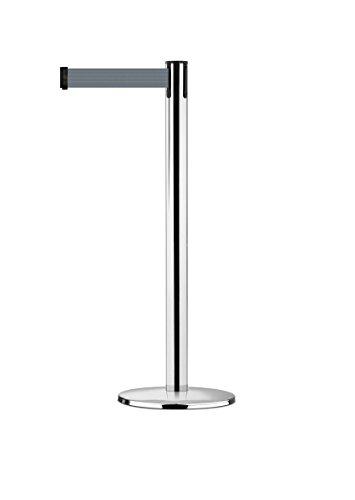 tensabarrier 889u-1p-std-b5-ste Advance Post in poliertem Chrom, Gurtband mit einem Anti Tamper Klebeband Ende, 2,3m, grau