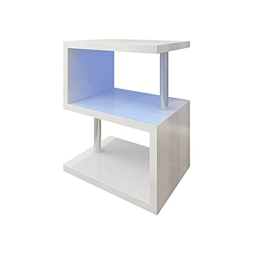Mesas de café en forma de S de alto brillo Mesa auxiliar de sofá de madera con estantes de almacenamiento de 3 niveles Mesas auxiliares fáciles de mover para la sala de estar y la oficina (44x38x52cm,
