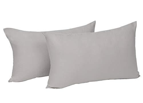 WOLTU® KB5148hgQ2, 2X Kissenbezug Kissenhülle 100% Baumwolle mit Reissverschluss, 2er Set Sofakissen Dekokissen Kissen Bezug, Kopfkissen Hülle Bezüge Doppelpack, 30x50 cm, Hell Grau