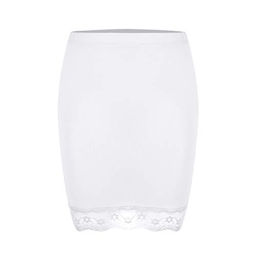 Alvivi Femme Jupon Fond de Jupe Blanc Noir Court sous Jupe Robe Petticoat Taille Elastique Mini-Genou Jupon pour Mariage Fille avec Bordure en Dentelle S-XL Blanc Small