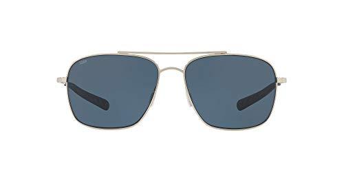 Costa Del Mar Men's Canaveral Polarized Round Sunglasses, Shiny Palladium/Grey Polarized-580P, 59 mm -  Costa del Mar Sunglasses, CAN21OGP
