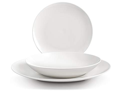 H&H 745768 zastawa stołowa Hollywood, 18-częściowy, Coupe, New Bone China, biała, porcelana
