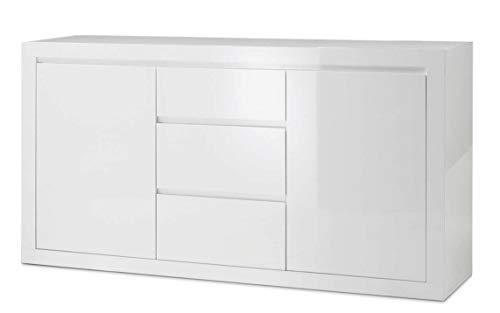 BIM Furniture Cómoda Como Bianco III con dos estantes, tres cajones italianos
