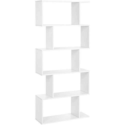 5 Shelf Bookcase, Modern S-Shaped Z-Shelf Style Bookshelf, Multifunctional Wooden Storage Display Stand Shelf for Living Room, Home Office, Bedroom, Bookcase Storage Shelf