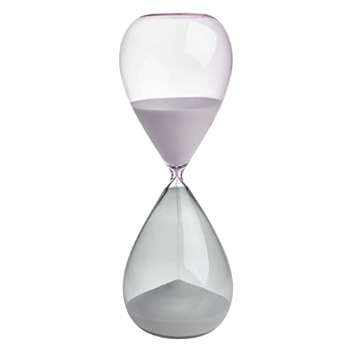TFA Dostmann Sanduhr 15 Minuten, 18.6009.02.40, aus Glas, Timer, Tischdekoration, Zeitmesser, grau-rosa, Sand, (L) (B) 73 x (H) 190 mm