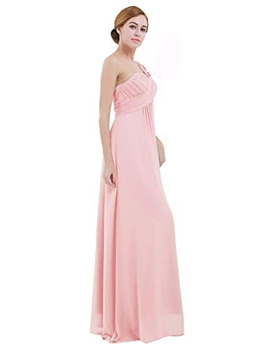 IEFIEL Vestido Largo de Fiesta Boda para Mujer Vestido Elegante de Dama de Honor Vestido Cóctel Un Hombro Descubierto para Ceremonias Gala A Rosa 38