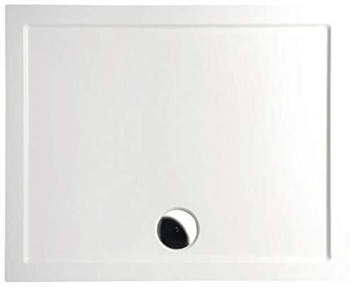 Mineralguss Duschwanne 120x100 - begehbare Dusche 1200x1000x40 mm, Weiß