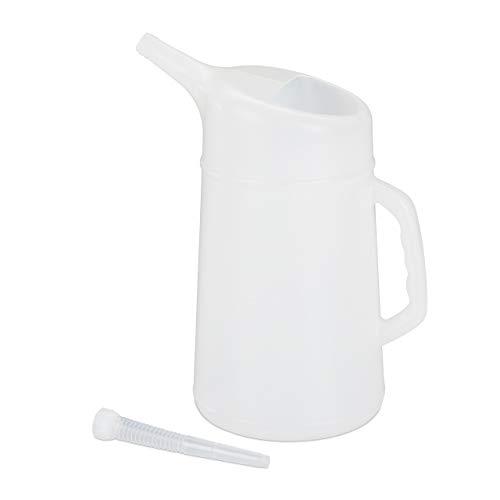 Relaxdays, 5 L, Blanco Embudo Coche, Ajustable, Medidor de Aceite, Resistente, PE