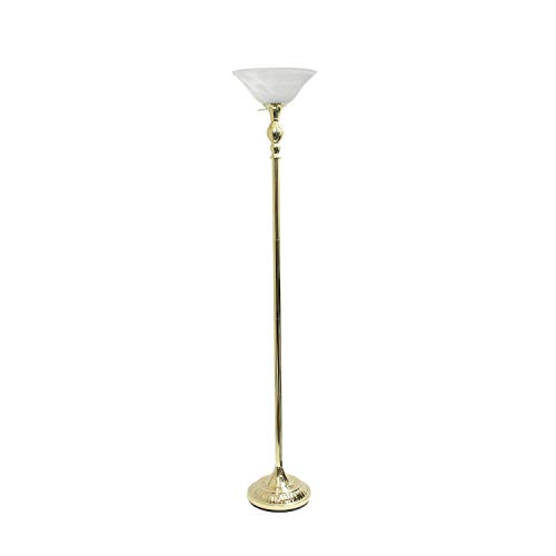 1 Light Torchiere Floor Lamp with Marbleized Glass Shade Gold - Elegant Designs