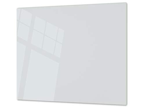 Cubre vitrocerámica y tabla de cortar de cristal templado – Superficie de vidrio templado resistente – UNA PIEZA (60 x 52 cm) o DOS PIEZAS (30 x 52 cm); D18 Serie de colores: Z Gris Claro