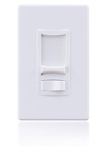 CloudyBay 0-10V Low Voltage Slide Dimmer Decorator Switch, On/Off Rocker, for 0-10V Dimmable LED and Fluorescent Fixtures, Single-Pole or 3-Way,Screwless Wall Plate, ETL Listed, White