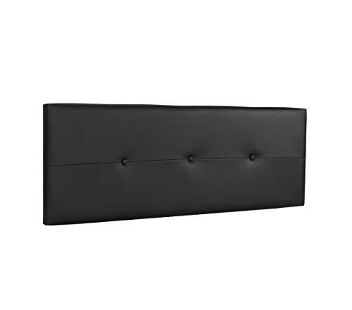 DHOME Cabecero de Polipiel o Tela AQUALINE Pro cabeceros Cabezal tapizado Cama Lujo (Polipiel Negro, 145cm (Camas 120/135/140))
