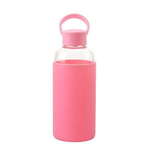 QIANJINGCQ Taza de agua con funda de silicona, deportes, taza de agua portátil, pareja de estudiantes, taza de agua de vidrio de borosilicato alto