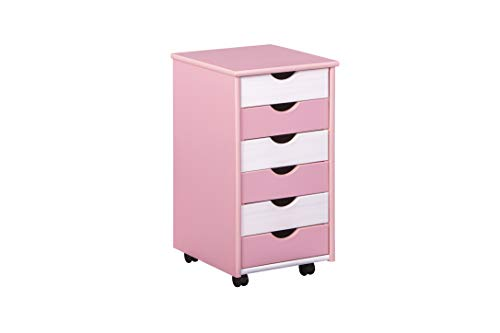 Inter Link Rolcontainer kantoorkast houten commode ladekast rolwagen massief hout roze en wit gelakt BxHxD: 36 x 65 x 40 cm