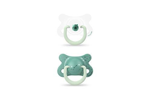Suavinex - Chupetes reversibles (2/4 m), diseño de oso verde, 2 unidades
