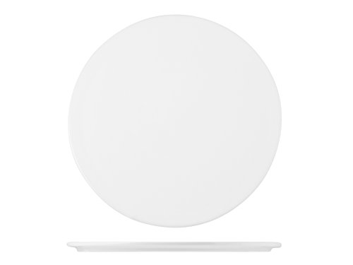 H&H Table Hotelware Plat Plaque Rond, Porcelaine, Blanc, 30 x 30 x 1 cm