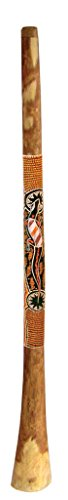 """Didgeridoo made from Yellowbox or Redwood eucalyptus with Dotpaint To prevent it from cracking it has a lineseed oil finish on the inside and outside 60"""" long, 2"""" mouth piece, 5-6"""" bell end. Because of its density, sound characteristics and stability..."""