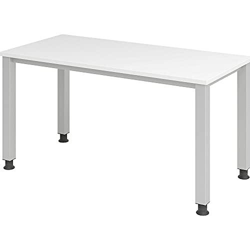 Hammerbacher Schreibtisch 4Fuß-rd.140x67cm Weiß/Silber