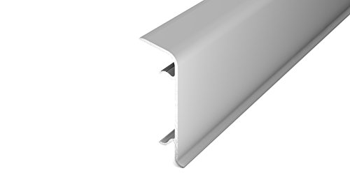 Alu-Clip-Sockelleiste silber mit Kabelführung inkl. 6 Clips 60 mm, Länge: 250 cm (Silber)