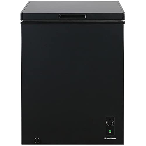 Russell Hobbs RH142CF2002B 142L Freestanding Black Chest Freezer with 5 Year Warranty, Adjustable Thermostat, 4 Star Freezer Rating & Suitable for Outbuildings & Garages