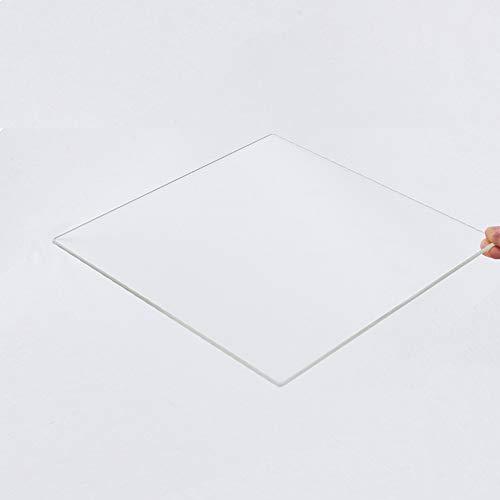 Piastra in vetro borosilicato 150 mm x 150 mm x 3 mm per stampanti 3D, vetro perfettamente piatto con bordi lucidi.