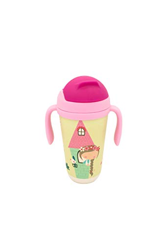 Tazza alta in bambù con una cannuccia in silicone | Tazza per bambini | Bambù senza BPA, Antibatterico e Ecofriendly (Principessa)