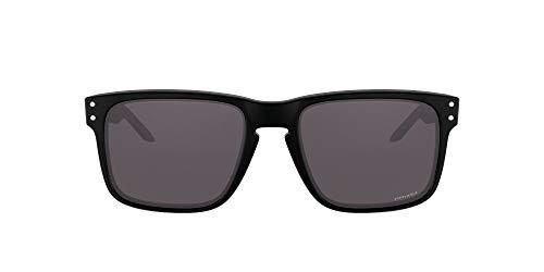 Oakley Men's OO9102 Holbrook Square Sunglasses, Matte Black/Prizm Grey Polarized, 57 mm