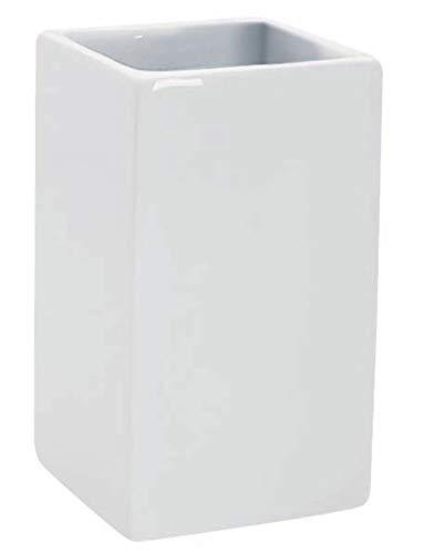 Spirella Zahnputzbecher Zahnbürstenhalter Keramik Quadro 6,5x10,5 cm Weiss