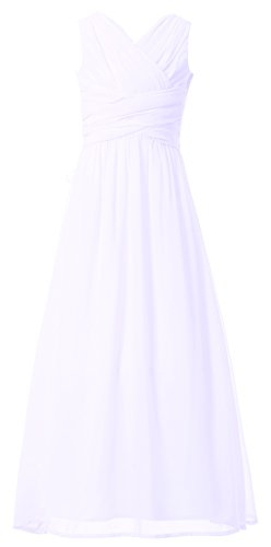 commercial Happy Rose Flower Girl Dress Party Dress Junior Long Bride Maid Dress White 18th junior occasion dresses