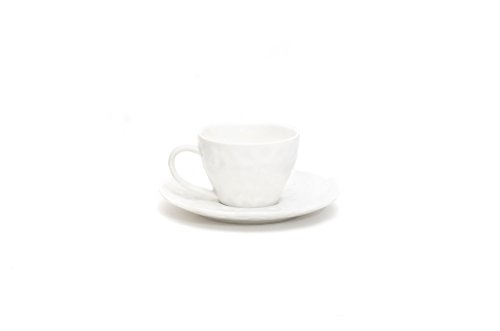 Red Vanilla Marble Coffee Cup and Saucer Set, of 6, 8.5 oz