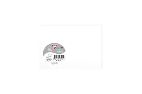 Clairefontaine 1316C Packung mit 25 Karten Pollen in Format C6, 110 x 155mm, 210g, weiss