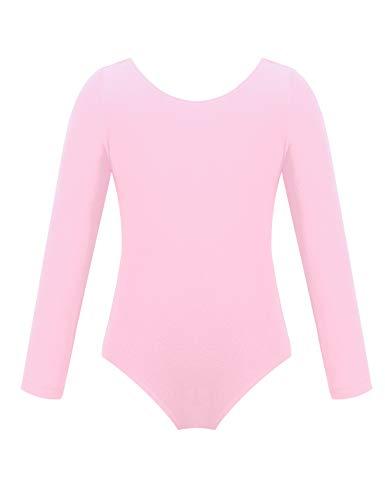 YiZYiF Kinder Mädchen Ballettanzug Langarm Body Gymnastikanzug Turnanzug Ballett Trikot Leotard (Rosa, 116)