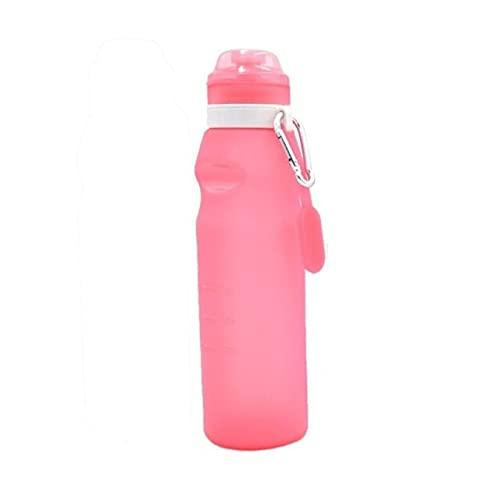 Botella de Agua de Bebida Plegable Plegable de 600 ml, hervidor de Agua, Taza de Silicona, Viajes, Deportes al Aire Libre, Bicicleta, Accesorios de Ciclismo - Rosa