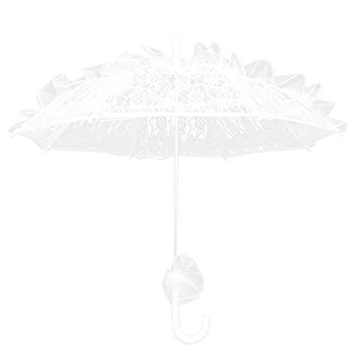 STOBOK Sombrilla de algodón de encaje nupcial blanco paraguas traje para fiestas de boda baile fotografía Prop, White, 60x54cm,