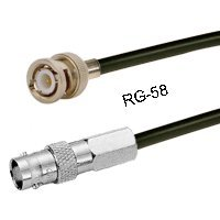 RG-58 Cable, BNC Male to BNC Female, 10ft