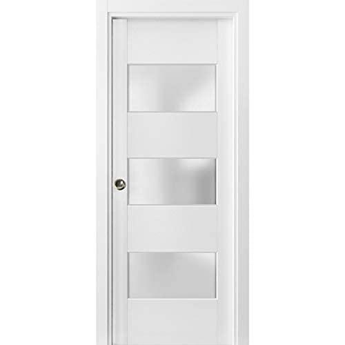 Puerta corredera de bolsillo francés 45,7 x 203,2 cm con vidrio esmerilado 3 litros | Lucia 4070 seda blanca | kit de accesorios de carril