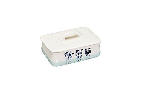 KitchenCraft Hand gefertigteKeramik Butterdose Cora Cow von Apple Farm mit Deckel, Keramik, Mehrfarbig, 9.69 x 14.5 x 10 cm, 1 Einheiten