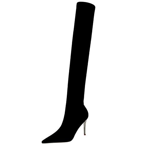 ZHENGRUI Botas Largas para Mujer,Botas Altas Muslo Tacones Altos Puntiagudos TacóN Alto Delgado Todo-FóSforo Invierno OtoñO Partido,Black-35