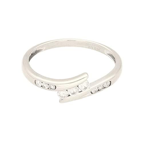Anillo de oro blanco de 9 quilates con diamantes de 0,25 quilates y detalles (tamaño P) 6 mm de ancho, anillo de lujo para mujer
