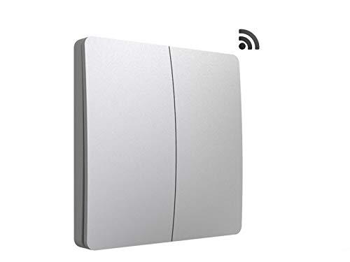 codalux Funkschalter / Lichtschalter S-Serie Taster 2 Tasten silber - kinetischer Funklichtschalter ohne Batterie - batterielos piezo außen Feuchtraum wasserdicht IP67 mit 5 Jahren Garantie