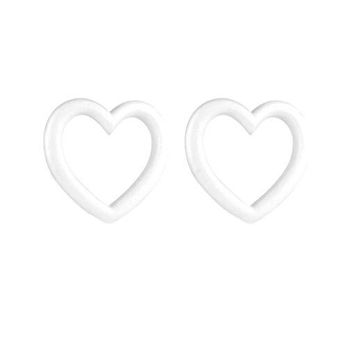 NUOBESTY 2 Pezzi polistirolo espanso polistirolo espanso Cuore Ghirlanda Forme Sfere in Schiuma Artigianale Ornamenti Natalizi Fai da Te (Bianco)