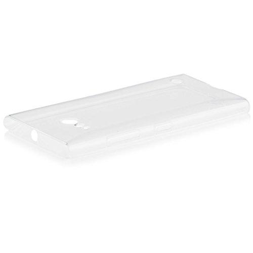 iCues Schutzhülle kompatibel mit Nokia Lumia 735 / 730   Transparent TPU Hülle Klar   [Bildschirm Schutzfolie Inklusive] Transparent Silikon Gel Hülle Cover Schutz