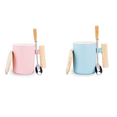 Taza de café Taza Taza, taza de té blanca de cerámica brillante para el hogar de la manija de madera para lavavajillas y microondas 1 paquete con cuchara de café azul rosa Taza de té leche Taza