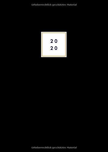Tageskalender 2020 A4: XXL Buchkalender 2020 -  2 Seiten = 1 Tag - 21x29,7 cm - Schwarz -  Mit Wochentag und Datum