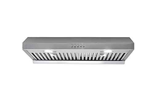 """Range Hood 30 inch Under Cabinet Ducted in Stainless Steel, 450 CFM Dual Motor Kitchen Stove Vent Hood with 3 Speed Exhaust Fan, 6"""" Top Vent, Push Button, Stainless Steel Baffle Filters, HTHomeprod"""
