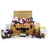 Large Traditional Wicker Basket Hamper with 40 Gourmet Food Items and Red and White Wine 187ml
