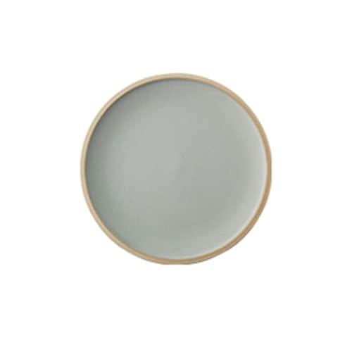 Hanpiyigcp Platos, Placa de glaseado reactivo, Adecuado para Colocar Dulces, filetes, Pasta, Verduras, Frutas, Platos de Cena (Color : Gray, Size : M)