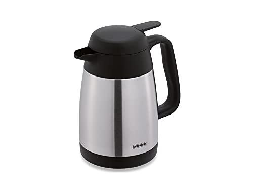 Leifheit Style 0, 6 L Isolierkanne, 100% dicht, Thermoskanne mit doppelwandigem Edelstahl-Isolierkörper, praktisches Öffnen und Schließen mit einer Hand, Kaffekanne, Teekanne, silber schwarz