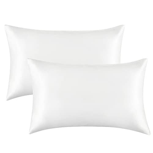 Bedsure Satin Pillowcase for Hair and Skin Queen - Pure White Silk Pillowcase 2 Pack 20x30 inches - Satin Pillow Cases Set of 2 with Envelope Closure