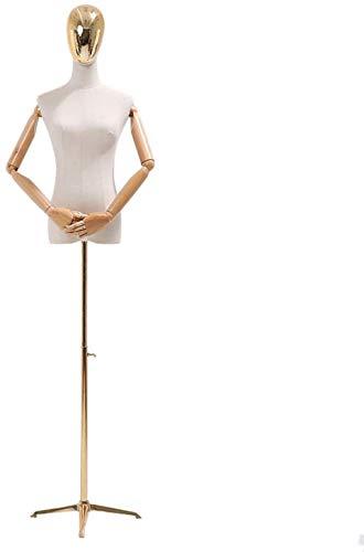 ZSY Maniquíes de Costura Código de Vestimenta Corporal del Torso Brazos y trípode Flexibles para Ropa de joyería de Vestir de Novia (Color : Gold, Size : Small)